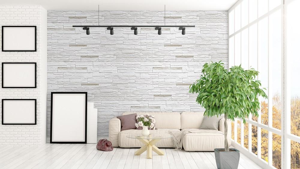 kamienna ściana w salonie